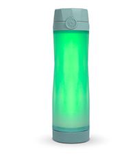 hidrate spark 3 smart water bottle closeup, 3 light patterns, syncs via bluetooth, gray blue color