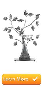 Silver Metal Jewelry Tree with Bird Nest - Holds up to 48 Pair Earrings