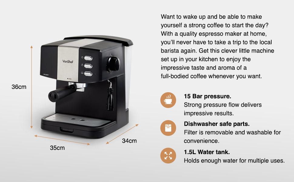 Espresso coffee maker machine vonshef cappuccino latte professional barista milk frothing filter