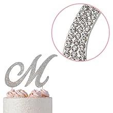 m cake topper monogram
