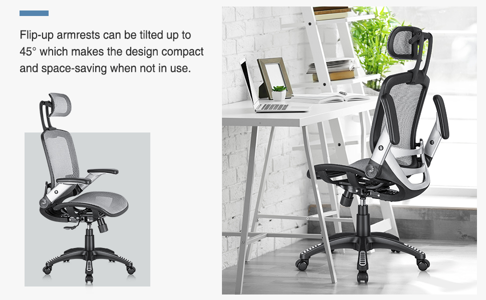 high back office chair wih flip-up arms