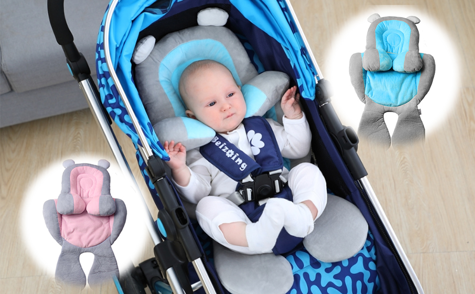 Blue vocheer 2 in 1 Baby Stroller Cushion Infant Car Seat Pad Head and Body Support Pillow Cotton Soft Breathable Machine Washable for Newborn and Toddler 0-12 Month