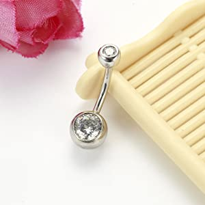 Sterling Silver CZ Belly Button Rings