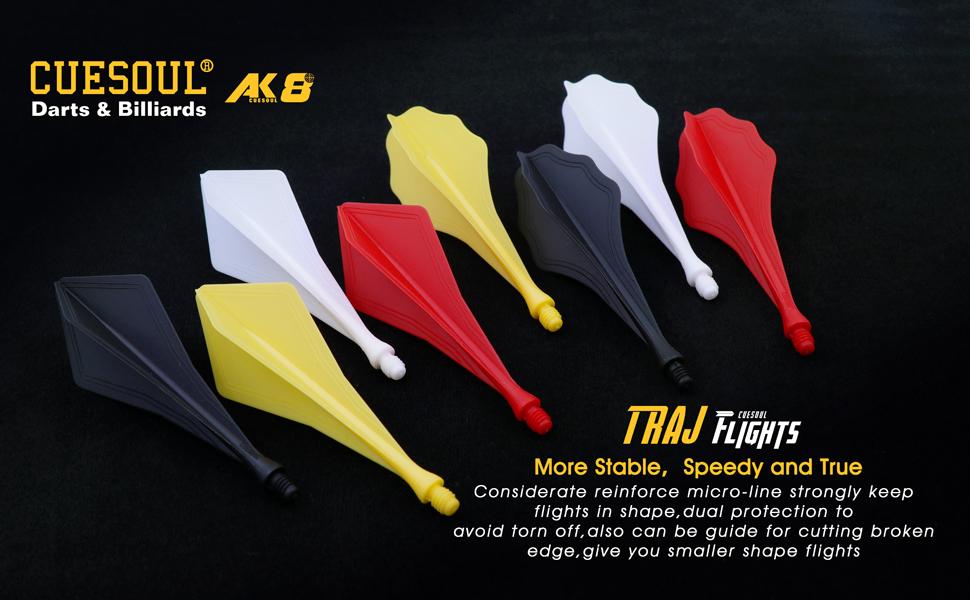 CUESOUL TRAJ AK8 Integrated Dart Flights /&Shafts Wave Shape,Dart Flight set of 3
