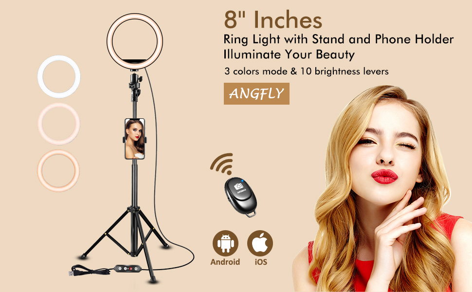 8'' selfie ring light with tripod stand