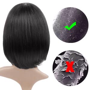 Queentas 11inches Human Hair Bob Wigs with Bangs Short Straight Bob
