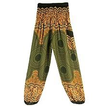 Nuofengkudu Mujer Algodón Thai Pantalones Hippies Cintura Alta con ...
