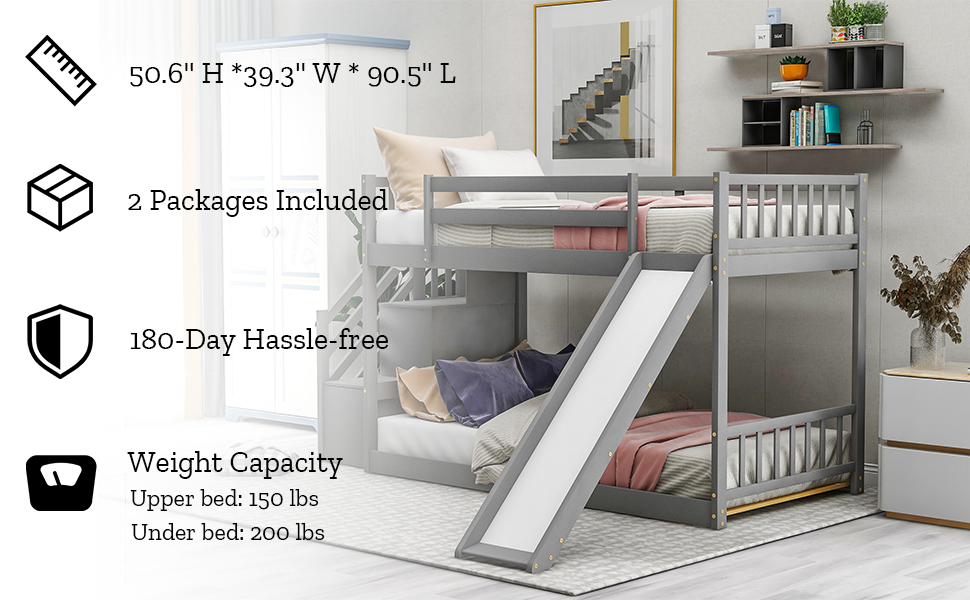 slide bunk bed twin size bunk bed with slide wood bunk bed frame for kids low bunk bed toddler bed