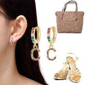 initial earrings match