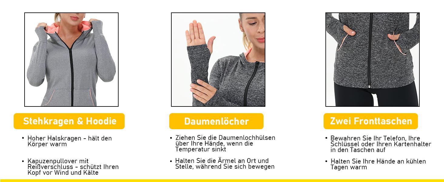 AMZSPORT Damen Laufjacke Sportjacke Langarm Kapuzenjacke Sweatjacke f/ür Yoga Fitness
