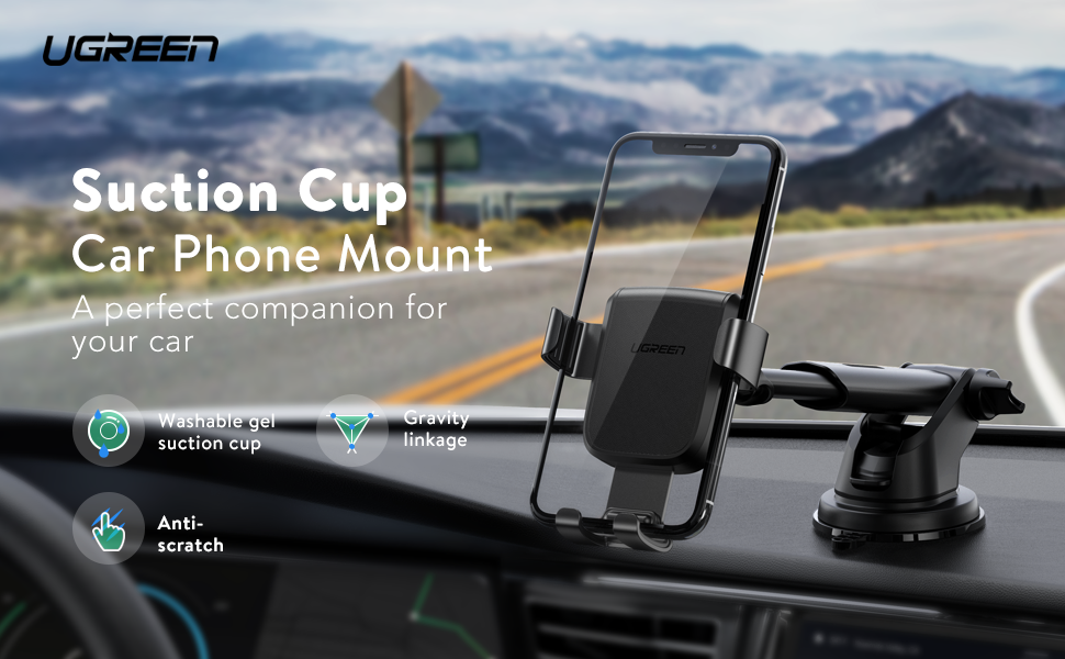 UGREEN Car Mount Cell Phone Holder Dashboard Windshield Smartphone Cradle Strong Suction
