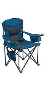 Oversized Folding Camping Mesh Chair Quad Arm Chair with Heavy Duty Lumbar Back Support Carrying Bag