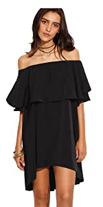 Off The Shoulder Ruffle Casual Loose Shift Dress