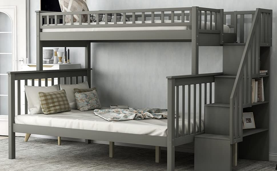 Amazon Com Merax Stairway Bunk Beds Twin Over Full With Storage Gray Kitchen Dining