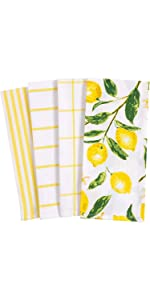 Lemons All Over Yellow White Linen Towels Dish