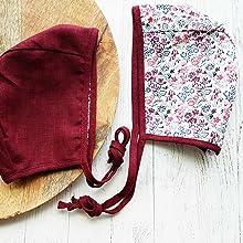 winter baby shower gift reversible baby girl bonnet red baby hat Little Red Bonnet