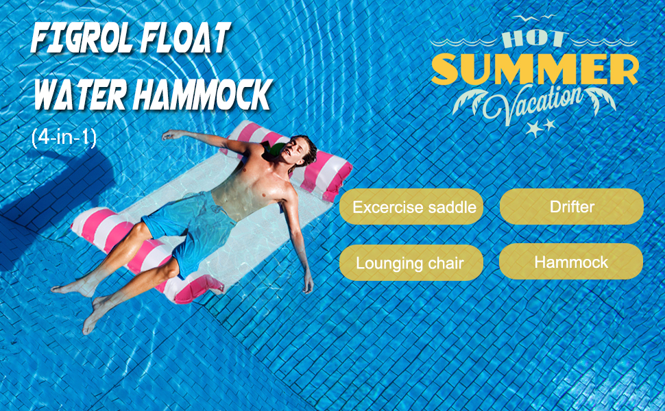 FIGROL Pool Float Water Hammock Multi-Purpose Swimming Pool Float Hammock Portable Pool Outdoor Toys for Saddle Red Hammock Lounge Chair Drifter