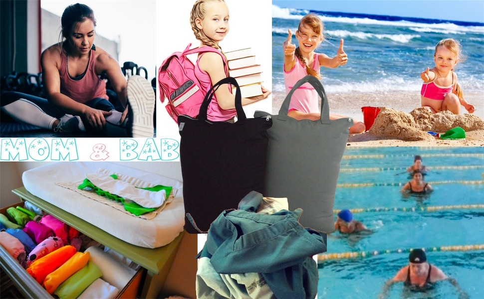 wet bags, wet dry bags, cloth diaper, waterproof bag, wet swimsuit, scrubs, daycare, school, beach