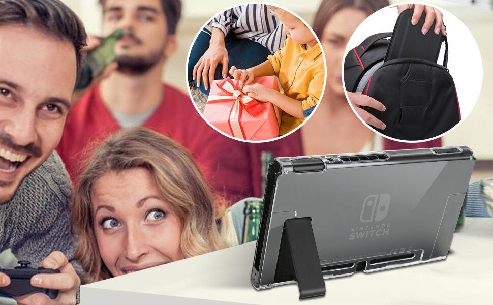 iAmer 11 en 1 Accesorios para Nintendo Switch, con Funda para Nintendo Switch+Funda Transparente+3 Protector de Pantalla+Funda de Silicona +4 Pulgar Grips+2 Estuche De Juegos+Paño de Limpieza: Amazon.es: Electrónica