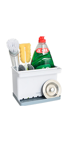 Kitchen Sponge Holder Sink Caddy Brush Holder with Dish Cloth Hanger Plastic Scrub Holder Countertop