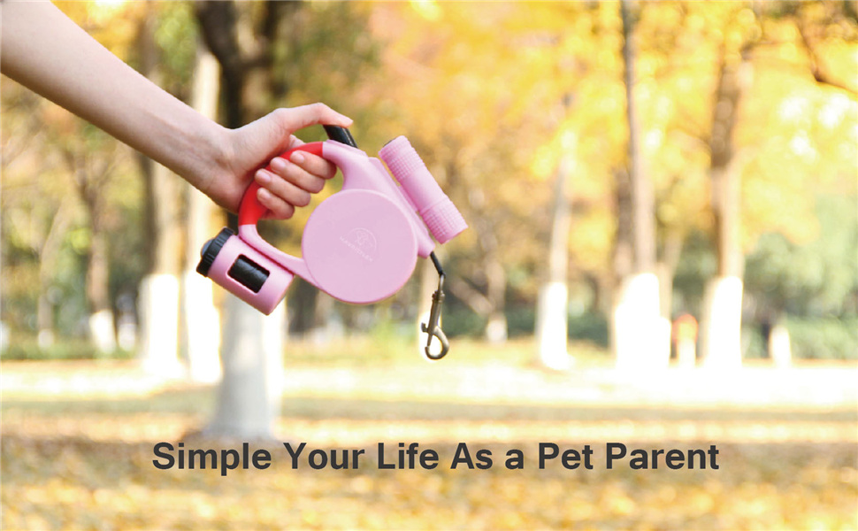 Pink Dog Leash Retractable Small Breeds