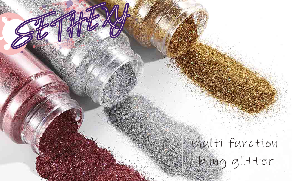 Sethexy Holoqraphic Body Glitter Gold Sequins Sparkly Bling Paillette For Body Art Make up
