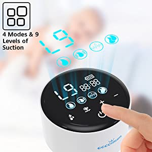 electric breast pump - Electric Double Breast Pump Eccomum Breastfeeding Pump With 4 Modes & 9 Levels, Memory Function, BPA Free, Full Touchscreen LED Display, Strong Suction Power, Pain Free, Rechargeable, Ultra-Quiet