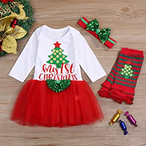 EG/_ 4Pcs Kids Baby Girl My First Christmas Lovely Red Skirt Dress Outfits Xmas S