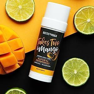 takes two to mango natural deodorant, mango deodorant, lime deodorant, charcoal and magnesium