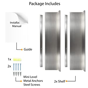package incudes mini level metal anchors steel screws stainless steel kitchen shelf set of 2