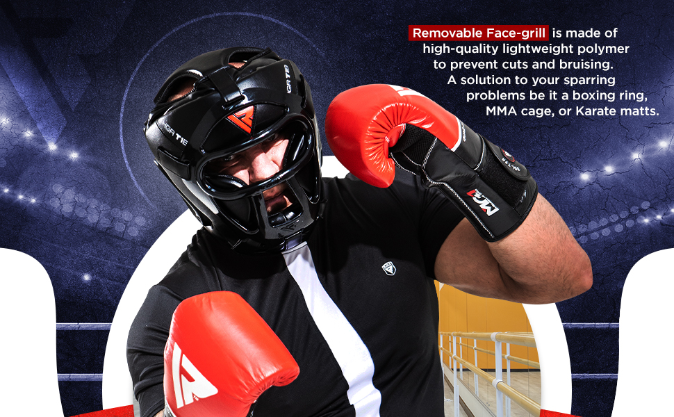 Headguard for Boxing, MMA Training - Head Guard with Removable Face Grill