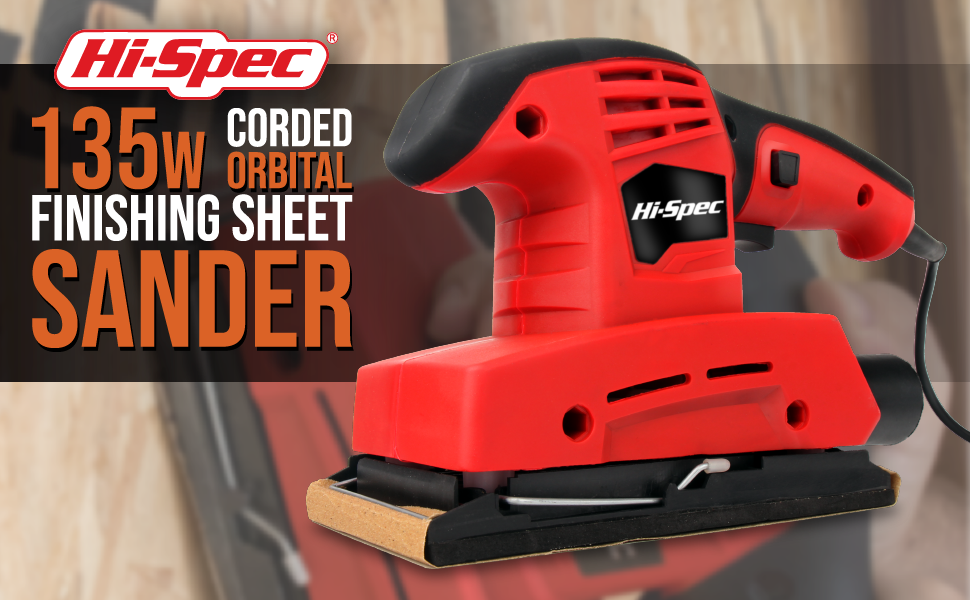 Hi-Spec 135 Watt 1//3 Sheet Orbital Sander with 9 Piece Sand Paper Kit Heavy Duty Sanding Tool for Smoothing Wood and Removing Paint
