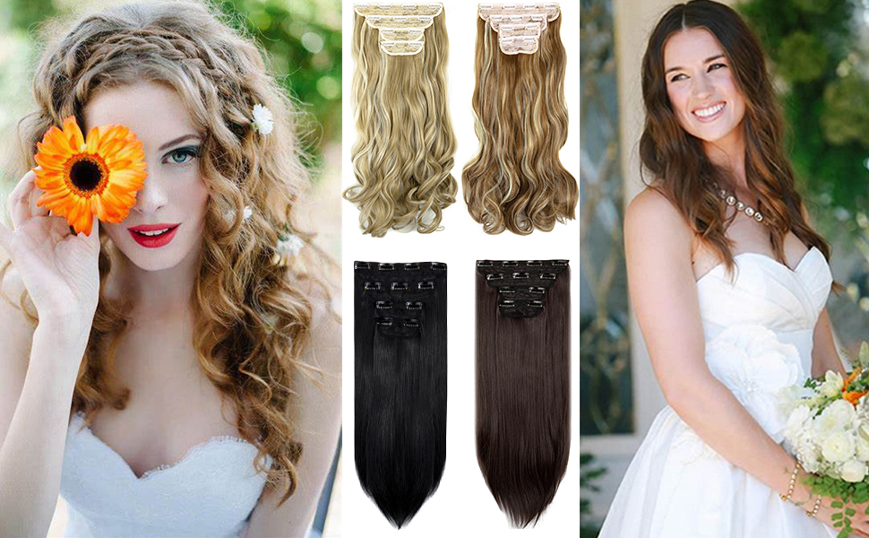 Clip in Hair Extensions 4Pcs 11Clips Curly Wavy Thick Full Head Double Weft Clip on Hair Extension