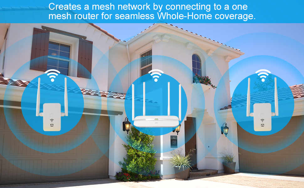 creates a mesh network by connecting to a one mesh router for seamless Whole-Home coverage.