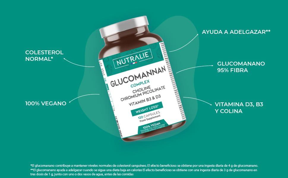 Glucomanano | Ayuda a Adelgazar e Inhibidor del Apetito 100% Natural con Bitartrato de Colina, Picolinato de Cromo y Vitaminas B3 y D3 | 120 Cápsulas ...