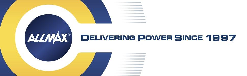 Allmax all powerful alkaline battery, since 1997, smoke alarm, smoke detector, garage door remote