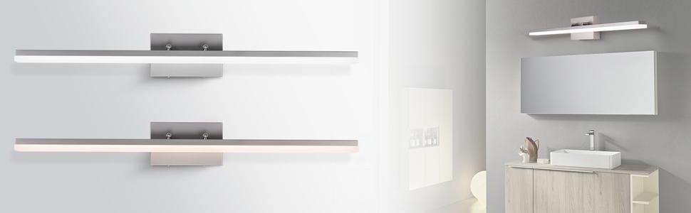 mirrea 36in Modern LED Vanity Light for Bathroom Lighting Dimmable 36w Brushed Nickel