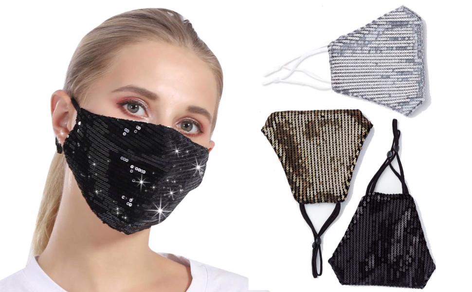 Black Sequin Face Mask for Women - Fancy Mask Black Sequin Mask Fancy Face Mask Glitter Face Mask