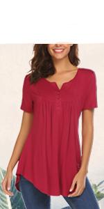 womens summer tops short sleeve tops button v neck shirt pleated flare tunic blouse for leggings