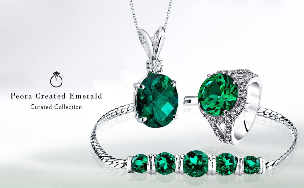 peora green emerald ring earrings studs pendant necklace bracelet jewelry set may birthstone