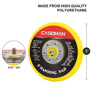 """5"""" PU Hook and Loop Backing Pad, Non-Vacuum style,"""