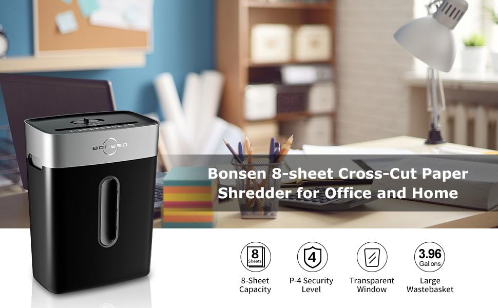 Bonsen 8 sheet high security cross cut paper shredder for home and office