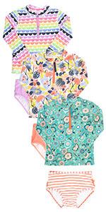 Printed Two Piece Rash Guard UPF 50+ Bikini Swimsuits