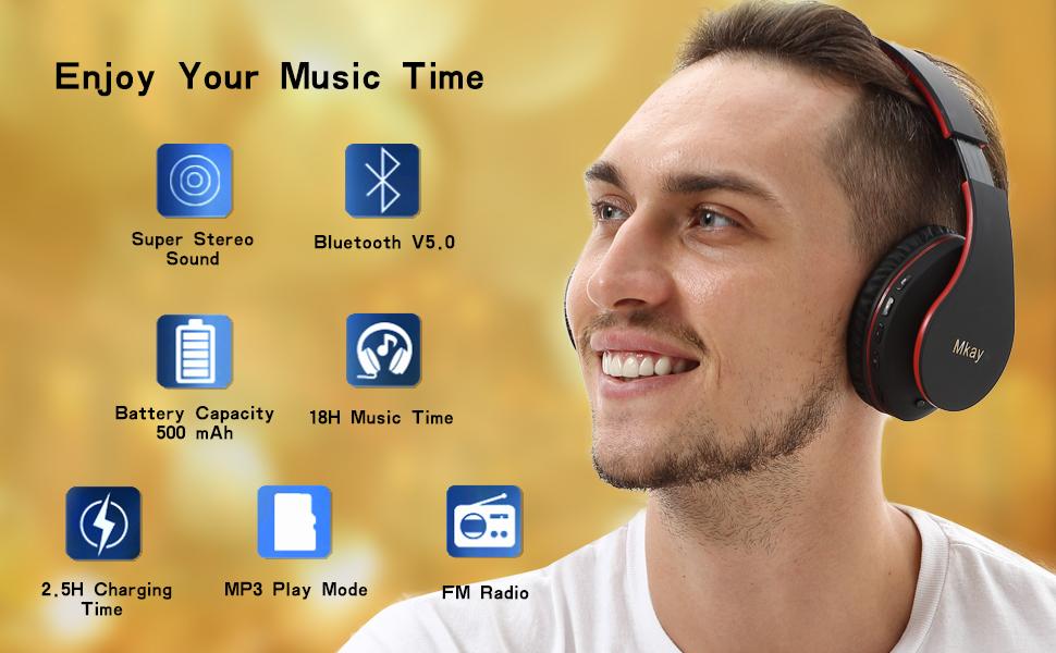 Mkay bluetooth headphones wireless over ear black-red-EBC-1