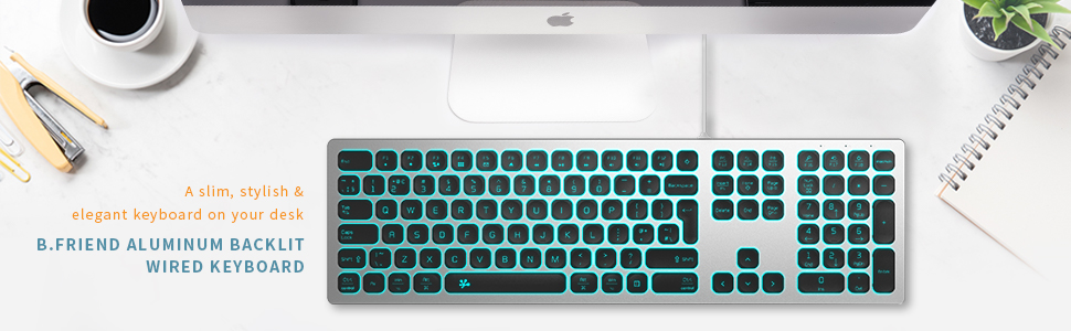 bfriend bfriendit led keyboard pc chiclet light up soft touch keyboards flat slim backlit uk silver