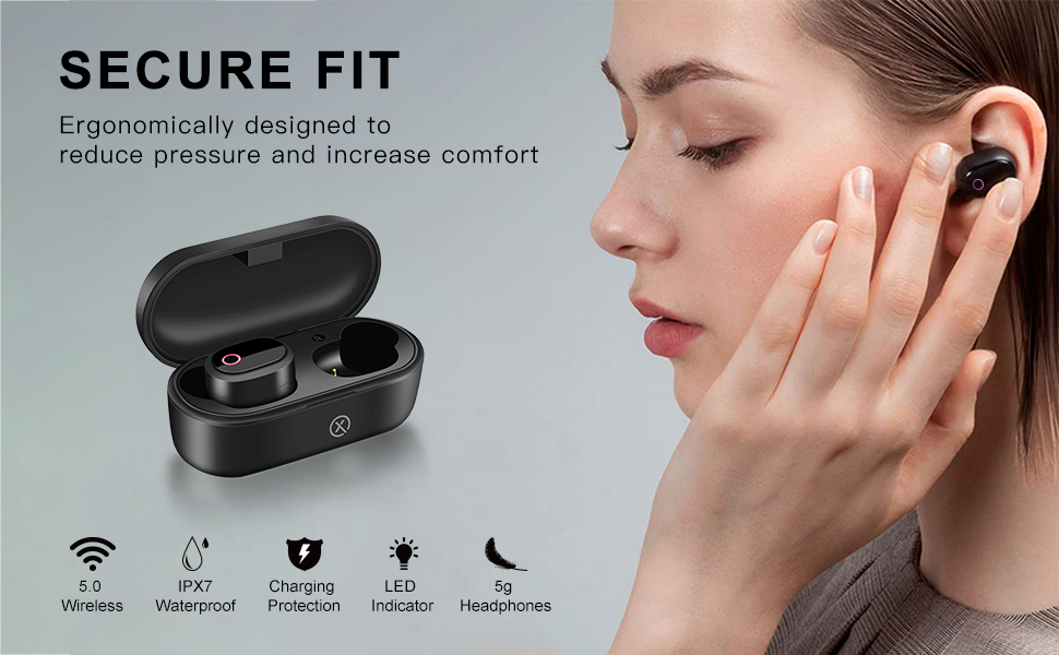 TWS Wireless Earbuds Bluetooth 5.0 Headphones for Sport,Work Out,IPX7 Waterproof, Secure Fit