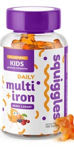 squiggles, kid multivitamin with iron, toddler multivitamin gummy with iron