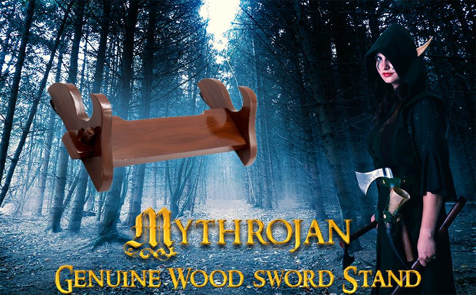 Mythrojan Genuine wood sword stand katana SCA LARP Reenactment weapon saber dagger knight medieval