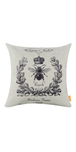 """LINKWELL 18""""x18"""" Black Queen Bee with Crown Pillow Cover"""