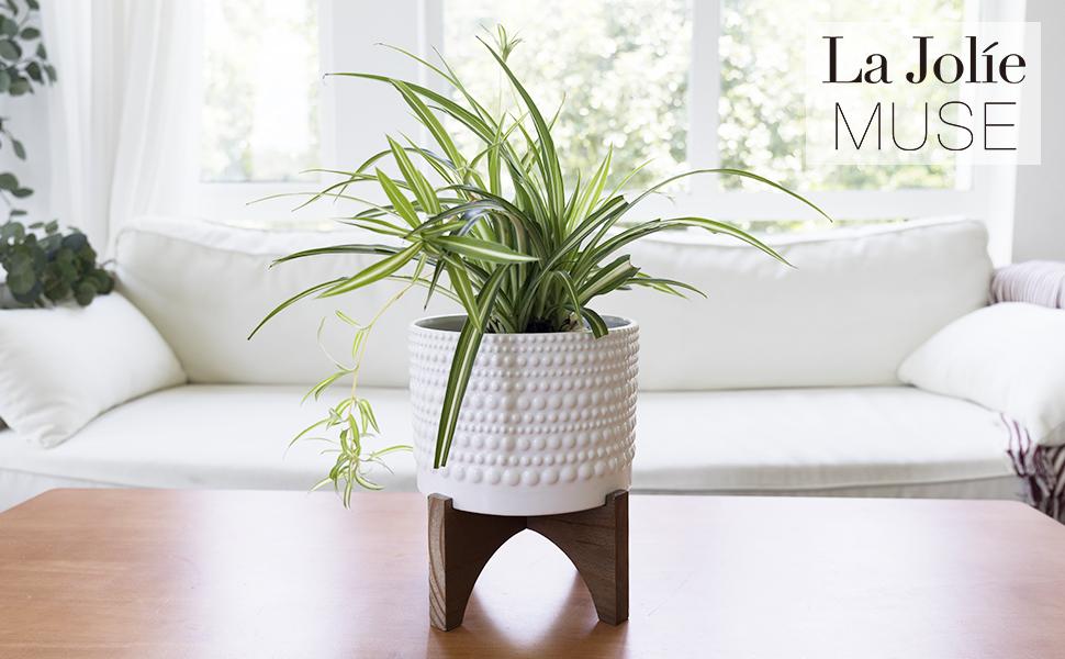 LA JOLIE MUSE Ceramic Plant Pot with Wood Stand
